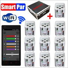 1650.00$  Watch now  - 10 Lights + 1 Charger Case NEW RGBWA(UV) 6IN1 WiFi Smart Par Battery Operated Wireless Led Uplighting For Stage Wedding DJ Event