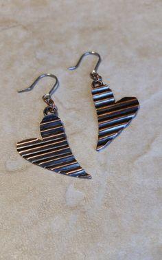 Crimped Copper Heart Earrings by CatsCreationsLLC on Etsy