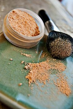 Power foundation = Mix 2 parts arrowroot powder + 1 part green clay + cocoa powder until color is right
