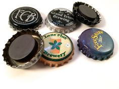 Set of 6 Beer Bottle Cap Refrigerator Magnets, Beer Magnets, Fridge Magnets, Recycled Bottle Caps, Man's Cave, Gifts for Dad, Beer Lover by RemadeByMaria on Etsy