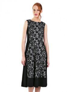 Κλος φόρεμα με πάνελ από δαντέλα - Ασπρόμαυρο