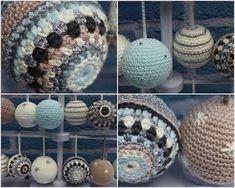 kerstbal2 Crochet Ball, Crochet Home, Love Crochet, Crochet Gifts, Crochet Motif, Diy Crochet, Crochet Patterns, Crochet Christmas Decorations, Crochet Ornaments