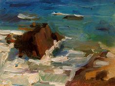 "Daily Paintworks - ""Leo Carillo Rocks and Foam"" - Original Fine Art for Sale - © Carol Steinberg"