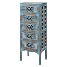 Distressed five-drawer accent chest with lattice-style panels and louvered detailing. Product: Accent chestConstruction Material: WoodColor: Bali blueFeatures: Five drawersLouvered details Dimensions: H x W x D Weathered Furniture, Funky Furniture, Solid Wood Furniture, Accent Furniture, Painted Furniture, Pillow Inspiration, Accent Chest, Funky Home Decor, Hearth And Home