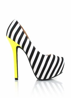 striped colorblock platform heels