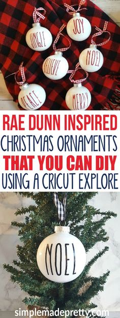 These DIY Rae Dunn Christmas Ornaments were so easy to make! She used clear plastic ornaments filled with paint and vinyl cut with a Cricut explore machine. She even has the free image to download and the font and size to make these Rae Dunn inspired Christmas decor yourself! via @SMPblog