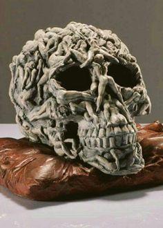 """Momento Mori by Matteo Pugliese - Bronze and Gold Editions "" Arte Fashion, Totenkopf Tattoos, Arte Obscura, Momento Mori, Human Skull, Skull And Bones, Skull Art, Skull Head, Dark Art"