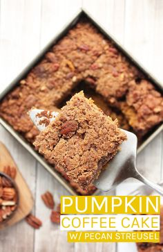 This vegan coffee cake is an incredibly moist pumpkin cake with a sweet crispy cinnamon pecan streusel topping for a seasonal breakfast the whole family will love. #vegan #veganrecipes #veganbreakfast #coffeecake #pumpkin #pumpkinrecipes