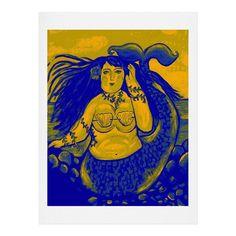 Renie Britenbucher Chubby Mermaid Navy Art Print   DENY Designs Home Accessories