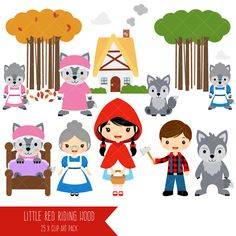 Little Red Riding Hood clipart, Wolf clipart, cute woodland, boy and girl woodland theme, fairytale clip art - Commercial use - Wolf Clipart, Bear Clipart, Big Bad Wolf, Pig Images, Goldilocks And The Three Bears, Christmas Snow Globes, Three Little Pigs, Clip Art, Farm Theme
