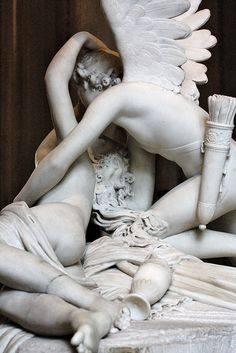 "Ardent Eros    Canova's ""Psyche brought to life by the kiss of Amor."" Paris, Louvre"