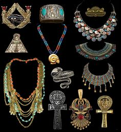 Ancient Egyptian Jewelry and I want it all!!! Actually, a few of these pieces I do have replicas of on the store, but not as many as I would like!