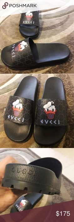ab9cb2a76 Gucci Slides Donald Duck Gucci slides men's and women's size available Text  404-602-