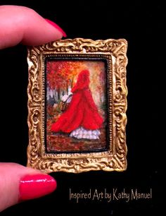 """Dollhouse Miniature Framed Oil Painting """"Red Riding Hood"""" Fall,Woods by K.Manuel #Unbranded"""