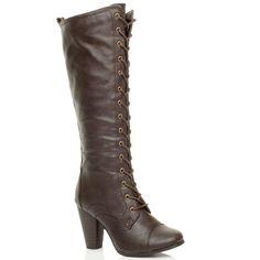a276162597c0e Femmes haute talon large lacets genou mollet motard bottes militaires  pointure  Amazon.fr