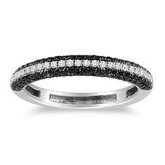 Miadora 10k White Gold 1/2ct TDW Black and White Diamond Ring (H-I, I2-I3) | Overstock.com Shopping - The Best Deals on Diamond Rings