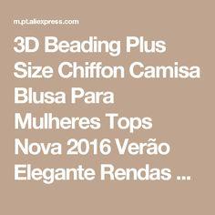 3D Beading Plus Size Chiffon Camisa Blusa Para Mulheres Tops Nova 2016 Verão Elegante Rendas de Slim Senhoras Manga Curta Escritório Camisas 5XL Loja Online | aliexpress móvel