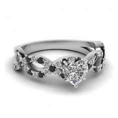 Heart Shaped Diamond Side Stone Ring With Black Diamond In Sterling Silver