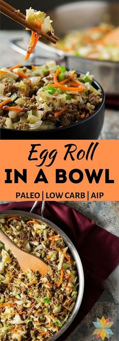 Crack Slaw, One Pan Meals, Quick Meals, Egg Recipes, Healthy Recipes, Delicious Recipes, Healthy Food, Whole30, Healthy Egg Rolls