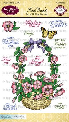 Floral Basket Clear Stamps