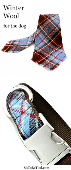 Winter dog collar. Wool plaid dog collar in blue and brown vintage fabric.