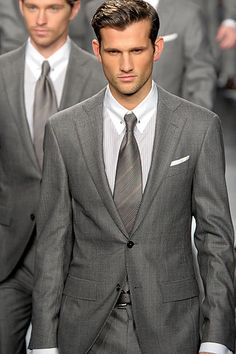 Grey Suited (make me weak in the knees in a grey suit!!) but with a black tie