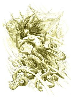 A beautiful fantasy tattoo sketch by Jee Sayalero of mermaid with tentacles.