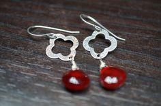 Sterling silver clover Ruby earrings
