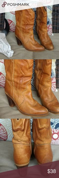 Beautiful stack heel vintage Western boots These boots are perfectly worn in. The discoloration from wear and scuffs just add to the look of this cool boot. See pics for condition. Hers look great, no damage or marks. Made in Romania, leather. Size 7.5. Vintage Shoes Heeled Boots