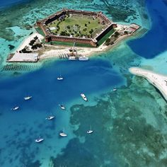 Dry Tortugas National Park, 80 miles form Key west by ferry boat (Camping overnight cheap!!)