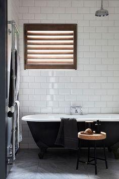 Useful Walk-in Shower Design Ideas For Smaller Bathrooms – Home Dcorz Parisian Bathroom, Modern Bathroom, Neutral Bathroom, Small Bathrooms, Interior Window Shutters, Wooden Shutters, Restroom Remodel, Walk In Shower Designs, Bathroom Windows