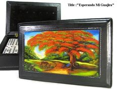 Father's Day best Gift ! Dominoes Double Six w/Artworks in Black Leather Case #Handmade