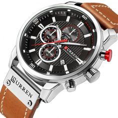 CURREN Luxury Brand Men Military Sport Watches Men's Quartz Clock Leather Waterproof Date Wristwatch Reloj Hombre 8291 Mens Watches For Sale, Mens Sport Watches, Luxury Watches For Men, Cool Watches, Wrist Watches, Latest Watches, Fossil Watches, Men's Watches, Elegant Watches