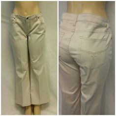 "Offers of 40% Less on BUNDLES Always Accepted! L.E.I. Cream Stretch Denim, Embroidered Pockets, size15, back pockets embroidered with tan/gold thread, 3 1/2"" zipper topped by exposed logo button,  medium weighs trench material,  97% cotton, 3% spandex, 18 1/2"" waist laying flat, 28 1/2"" inseam, 38"" length waist to hem, 10"" waist to crotch. ADD TO A BUNDLE! Offers of 40% Less on BUNDLES Always Accepted! lei Jeans"