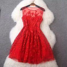 Luxury Embroidery Sleeveless Dress - Red