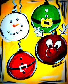 Funky Christmas Friends Christmas Art Projects, Christmas Crafts For Kids, Holiday Crafts, Christmas Decorations, Christmas Ornaments, Handmade Christmas, Painting For Kids, Easy Canvas Painting, Art For Kids
