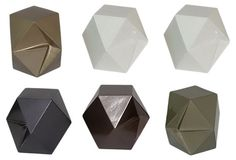 6 Assorted Geocube Paperweights ~~  Looking almost like origami, these geometric paperweights have clean lines and interesting angles.