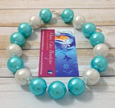 Toddler Turquoise and White Chunky Pearl by MaksChicBowtique, $14.00