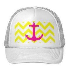 Neon Pink Nautical Anchor Yellow Chevron Pattern Mesh Hats