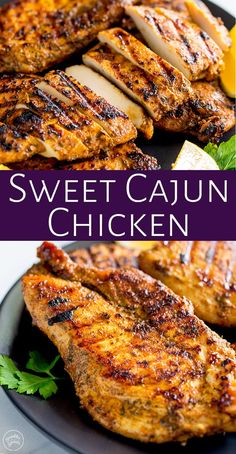This Grilled Sweet Cajun Chicken is tender, juicy and packed with flavor. The perfect chicken recipe for grilling season and ideal for the whole family. Cajun Chicken Recipes, Chicken Marinade Recipes, Grilling Recipes, Cooking Recipes, Best Grilled Chicken Marinade, Baked Cajun Chicken, Grilled Chicken Breast Recipes, Cajun Food, Marinated Chicken