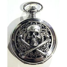 Steampunk Locket Silver Poison Pirate Skull and Bones Pocket Watch Pendant Necklace or Chain Fob. $49.99, via Etsy.