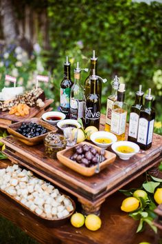 Great idea for a garden party! Bread, olive, olive oil bar!!