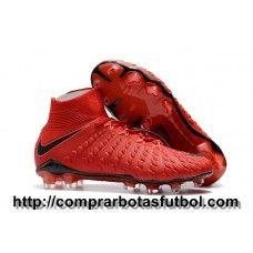 Madrid Botas De Futbol Nike Hypervenom Phantom III DF Play Fire FG Rojo  Crimson Negro