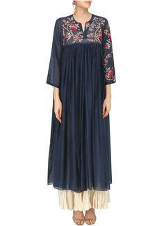 Prama by Pratima Pandey Navy Blue Dress and Crushed Anarkali Set Summer Dresses With Sleeves, Vintage Summer Dresses, Blue Summer Dresses, Navy Blue Dresses, Dress Summer, Dress Vintage, Indian Dresses, Indian Outfits, Cotton Anarkali