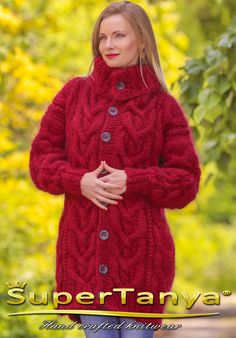 Boutique red cardigan fuzzy cable knitted long by supertanya