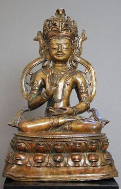 Amoghasiddhi   Tibet  15th c.  Bronze with copper inlay