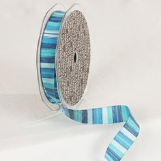 Blue Turquoise and White Striped Craft Ribbon 38 x 108 Yards -- Want additional info? Click on the image.