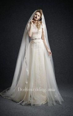 A-Line Mini Jewel Bell Cap Beading Appliques Court Train Button Tulle Lace  Dress. Vestiti Per Matrimonio AutunnaleAbiti Da SposaAbiti ... 0dc7284c897