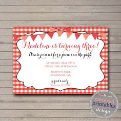 Picnic Party Invitation Picnic Birthday Party Summer Birthday