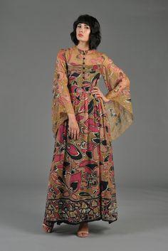 Hand Painted Silk Sheer Maxi Dress w/Angel Sleeves | BUSTOWN MODERN